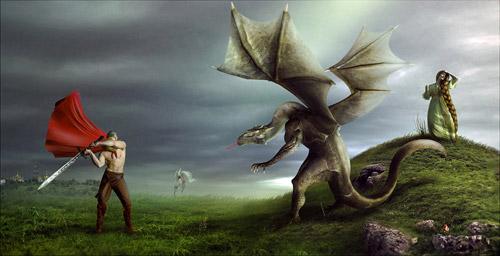 Бой Добрыни со Змеем и освобождение княжны Забавы