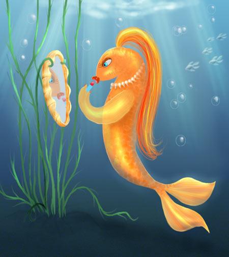 Золотая рыбка рисунок