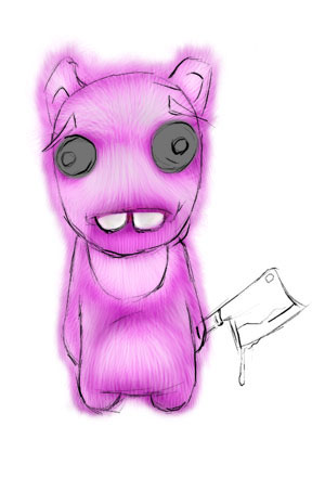 Зайка-убийца урок Фотошоп на планшете 13