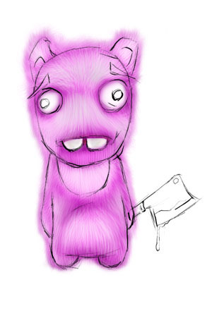 Зайка-убийца урок Фотошоп на планшете 12